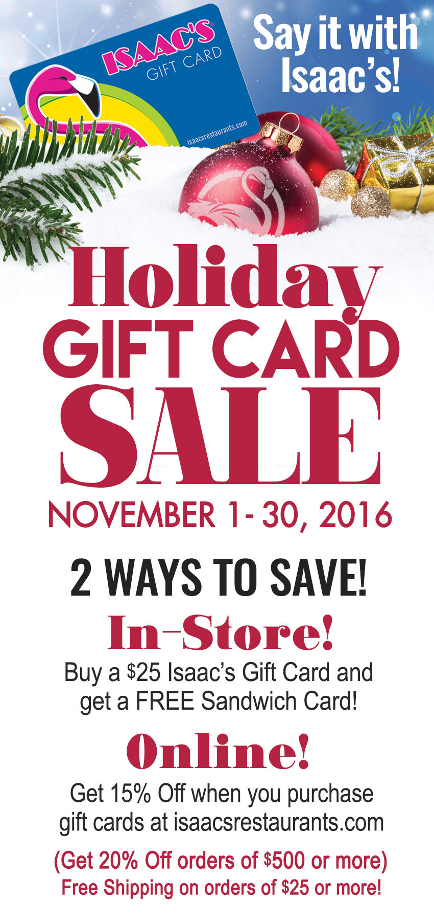 Holiday Gift Card Sale Specials Page Newsite16 Isaac S Restaurants