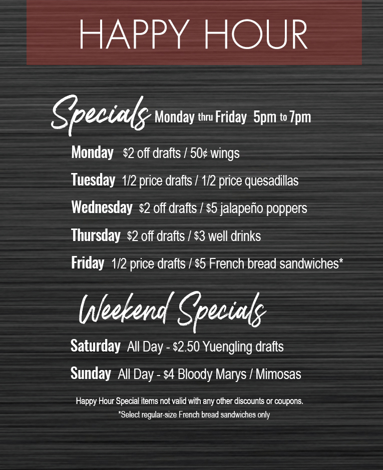 Happy Hour Specials Isaac S Restaurants