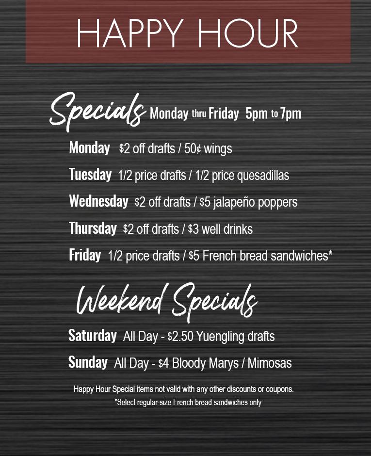 Happy Hour Specials Isaacs Restaurants